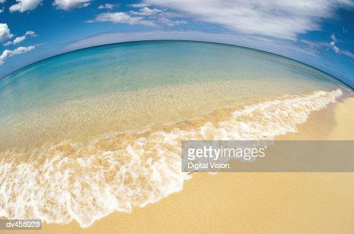 Fish Eye shot of beach : Stock Photo