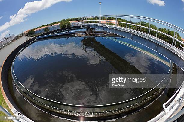 Fish Eye View of Water Treatment Plant Processing Tank
