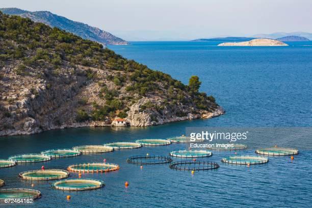 Fish farming or pisciculture near Korfos Peloponnese Greece