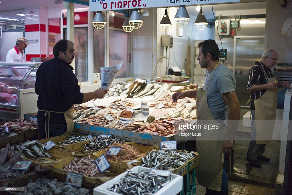 Fish for sale at indoor market hall. : Stock Photo