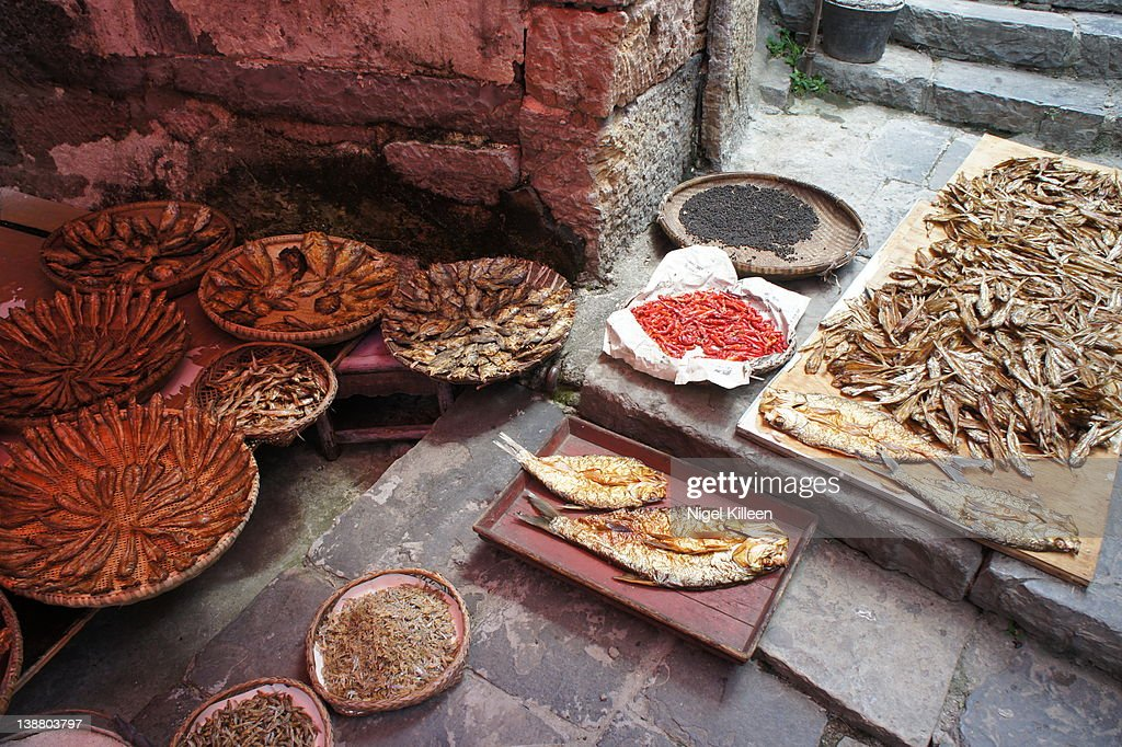 Fish market in old town : Stock Photo
