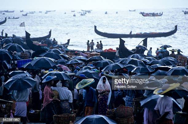 Fish market on the beach of Purukkad during the fishing season influenced by the seasonal heavy rains of the southwest summer monsoon | Location...