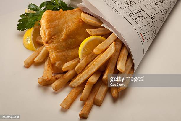 Fish n chips wrapped in newspaper