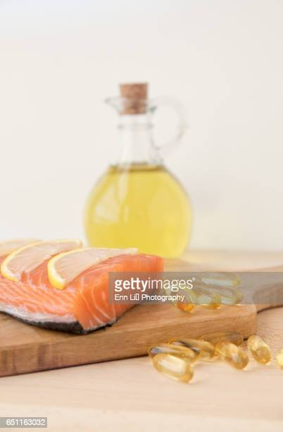Fish oil and salmon fillet
