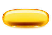 Fish oil pill, omega 3, isolated on white background, clipping path, full depth of field