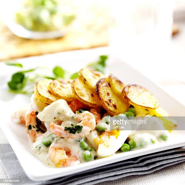 Fish pie with prawns
