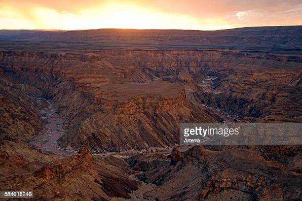 Fish River Canyon second largest canyon in the world at sunset Namibia South Africa
