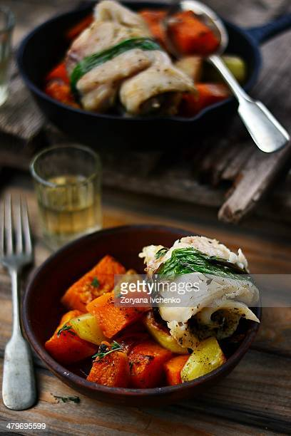 Fish roll with roasted vegetables
