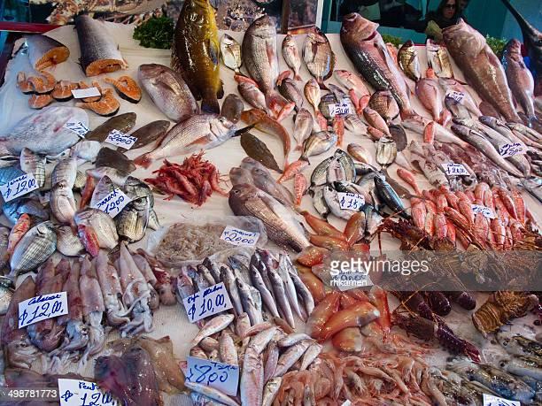 Fish stall in street market, Catania