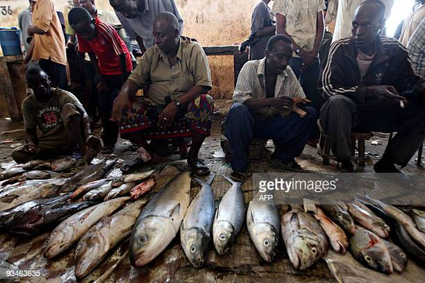 Fish traders display fish for sale at a local market in Hammer Wayne neighborhood which is the only fish market serving the entire city of Mogadishu...