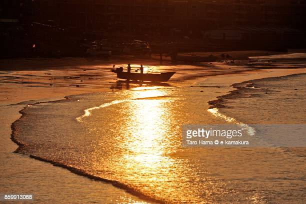 A fisher boat on the morning beach in Kamakura city in Kanagawa prefecture in Japan
