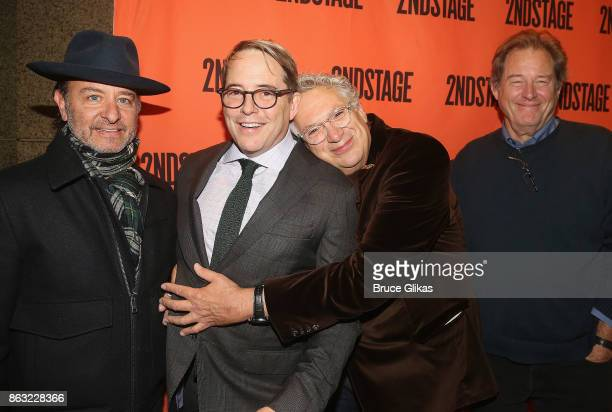 Fisher Stevens Matthew Broderick Harvey Fierstein and Brian Kerwin pose at the Opening Night arrivals for 'Torch Song' at The Second Stage Tony Kiser...