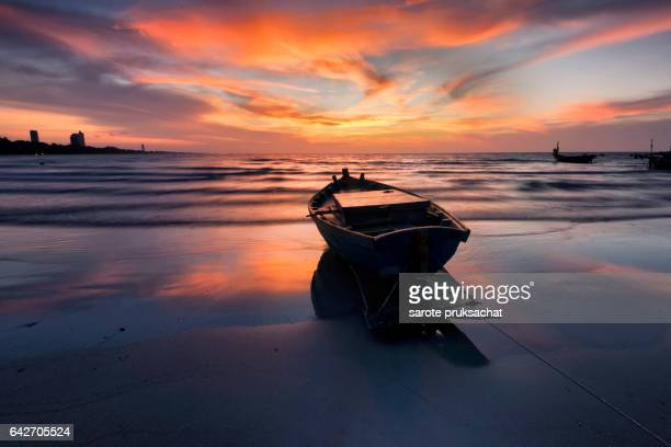 Fisherman boat as sunset .