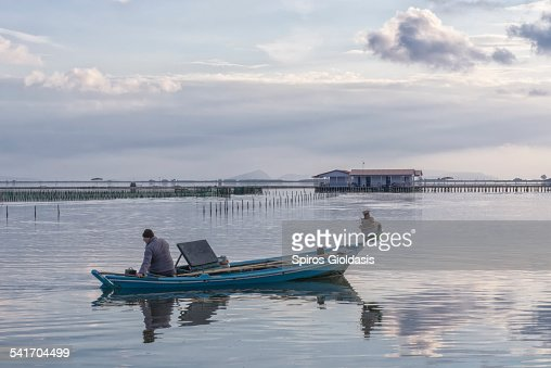 Fisherman in Mesologgi : Stockfoto