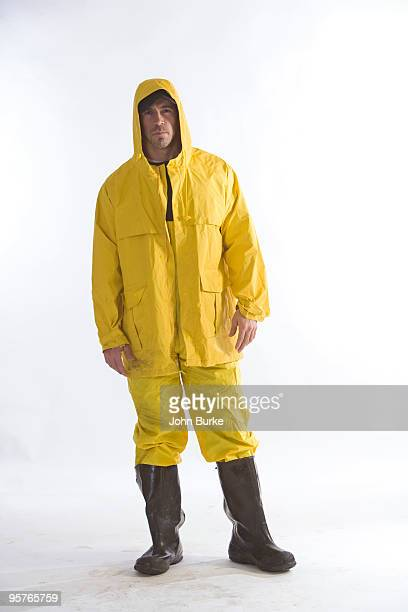 Fisherman in rain gear and rubber boots
