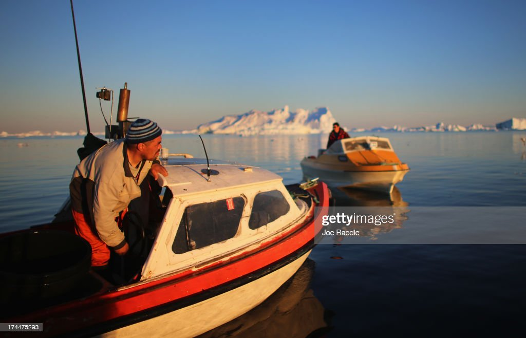 Fisherman, Inunnguaq Petersen, heads to the spot where he put in his fishing line near icebergs that broke off from the Jakobshavn Glacier on July 22, 2013 in Ilulissat, Greenland. As the sea levels around the globe rise, researchers affilitated with the National Science Foundation and other organizations are studying the phenomena of the melting glaciers and its long-term ramifications. The warmer temperatures that have had an effect on the glaciers in Greenland also have altered the ways in which the local populace farm, fish, hunt and even travel across land. In recent years, sea level rise in places such as Miami Beach has led to increased street flooding and prompted leaders such as New York City Mayor Michael Bloomberg to propose a $19.5 billion plan to boost the citys capacity to withstand future extreme weather events by, among other things, devising mechanisms to withstand flooding.