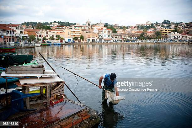 A fisherman is fishing in a mussel culture in the lake of Ganzirri a small fishing village on the Strait of Messina in Sicily on January 29 2010 in...