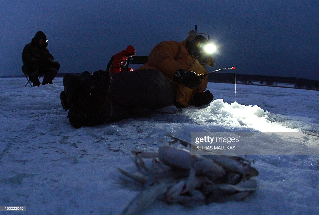 A fisherman lays on the frozen surface of the Kursiai Lagoon near Klaipeda, Lithuania, to catch smelts on January 27, 2013. Several thousands of amateur fishermen from all over Lithuania gather on the ice to catch the small fish. AFP PHOTO / PETRAS MALUKAS