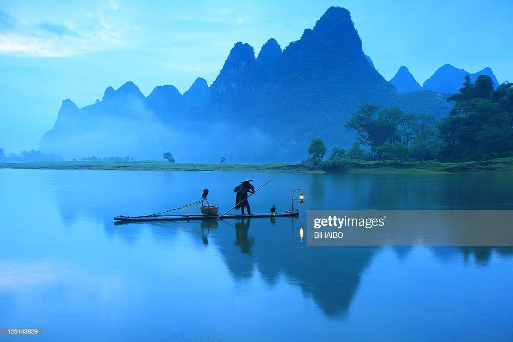 Fisherman on Li River : Stock Photo