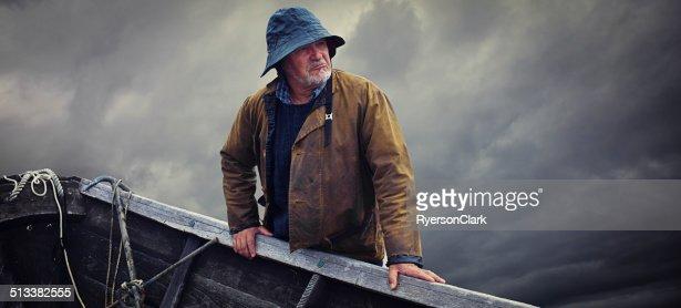 Fisherman Portrait, Stormy Sky and Dory, Nova Scotia