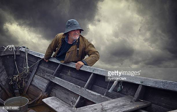Fisherman Portrait, Stormy Sky and Dory, Nova Scotia