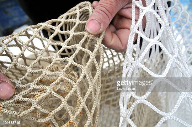 A fisherman shows the difference in sizes of mesh of fishing nets the larger mesh size of the net on the right hand side complying with new EU...