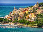 Beautiful fisherman town of Portovenere near Cinque Terre on a sunny summer day, Liguria, Italy