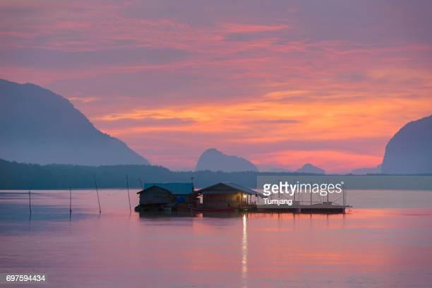 Fisherman village at sunrise, Samchong Tai, Phang nga Province, Thailand.