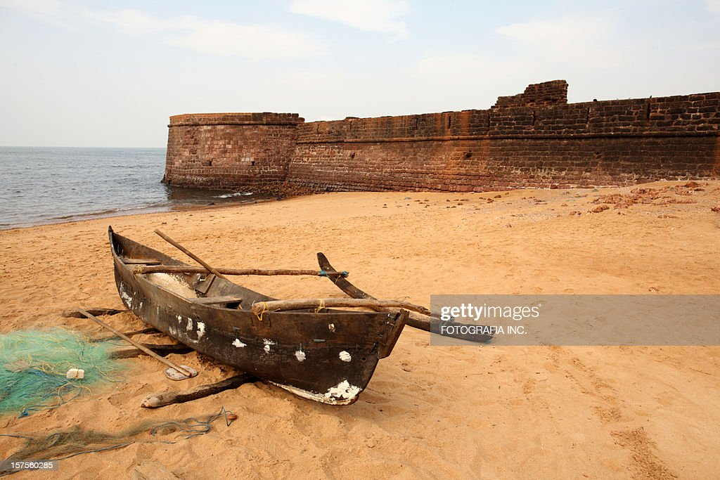 Fisherman's boat at Aguada Fort : Stock Photo