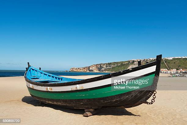 Fisherman's boat on the beach, nazare, estremadura and ribatejo, portugal