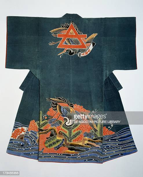 Fisherman's ceremonial jacket MeijiTaisho period cotton crane with a standard crane and longtailed tortoise and fan with the message Big haul of...