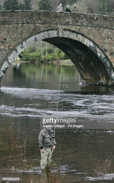 A Fisherman's spinner on the water on the river Tay at Kenmore on the first day of the Salmon Season