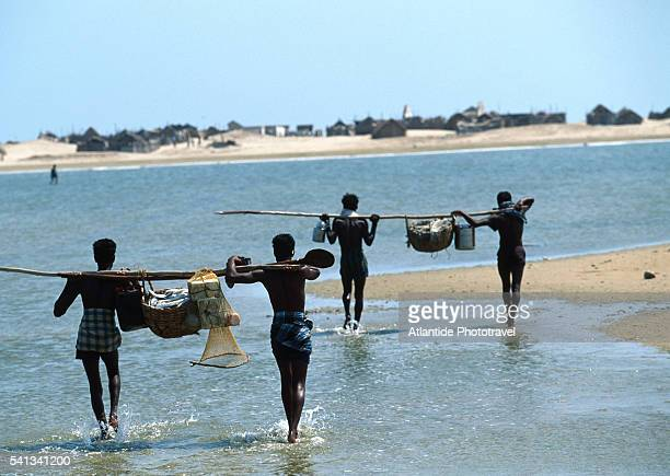 Fishermen Carrying Baskets of Fish on Beach