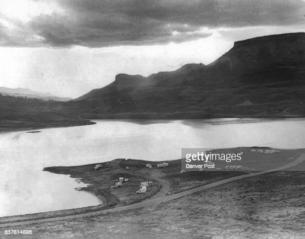 Fishermen Couldn't Wait for a Campground A peninsula on the reservoir above Blue Mesa Dam part of the Curecanti Project is sprinkled with motorized...