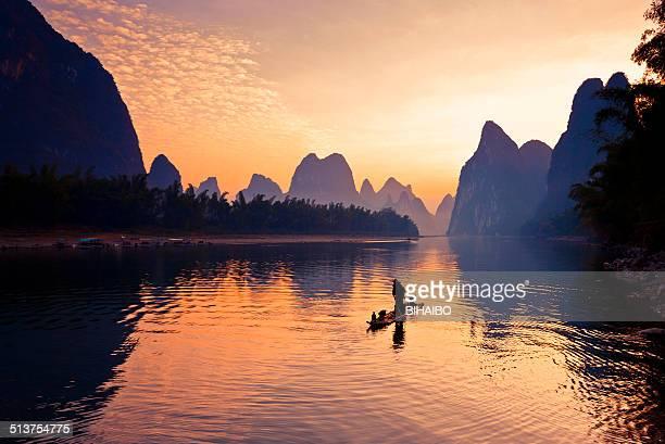 漓江では、漁師ジョンフィッシング
