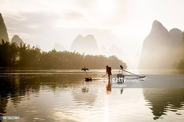 Pêcheurs de la pêche sur la rivière Li