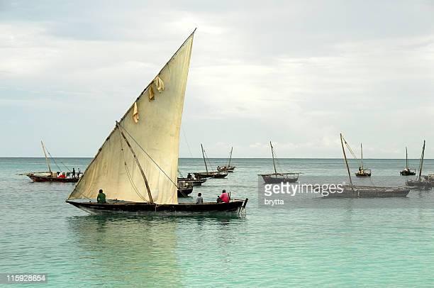 Fishermen in a traditional dhow,Nungwi,Zanzibar.
