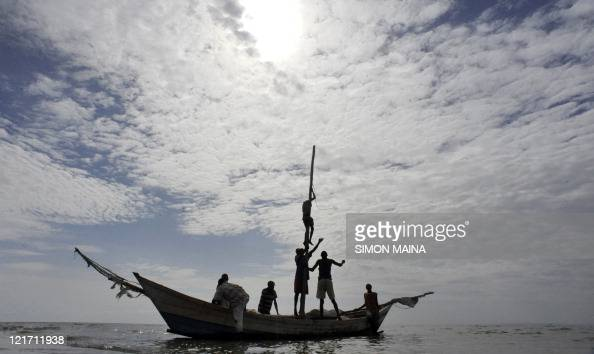 Fishermen in Lake Turkana head out for their daily catch on August 10 2011 Oxfam food aid project funded by the EU gives food vouchers to vulnerable...