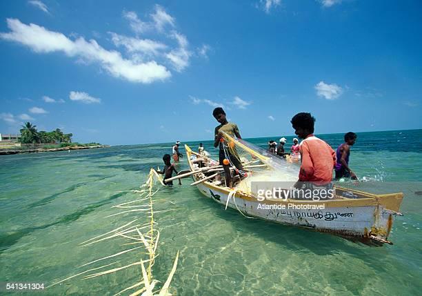Fishermen in Ocean near Rameswaram City