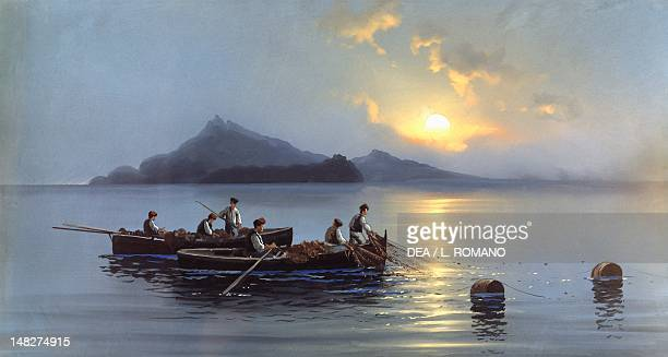 Fishermen off the coast of Capri painting by Antonio Coppola