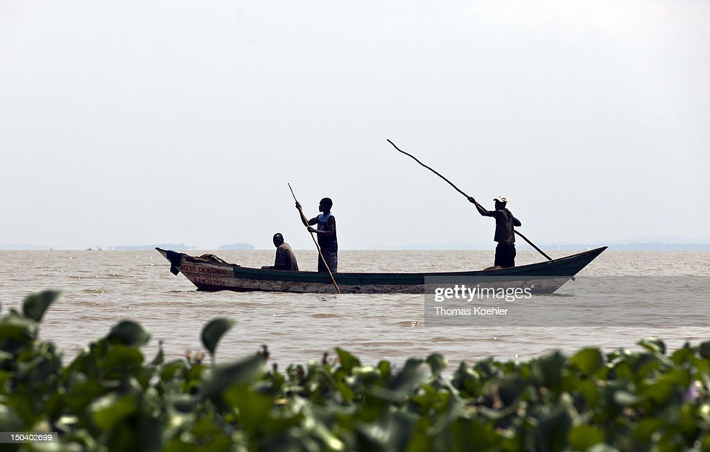 Fishermen on a boat on the Lake Victoria on August 16, 2012.