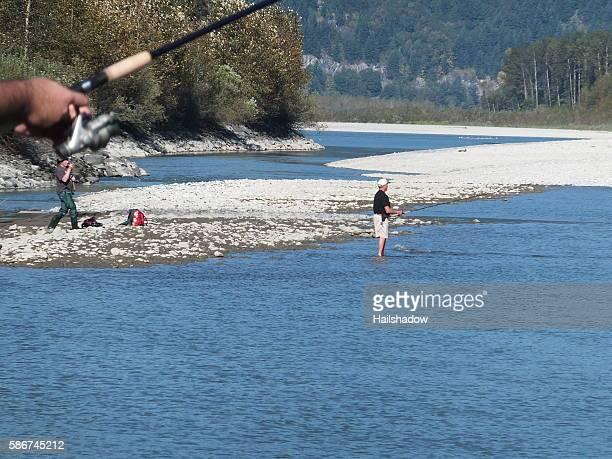 Fishermen on Fraser River during salmon season
