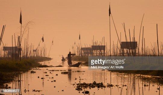 Fishermen on Inle Lake, Myanmar : Stock Photo