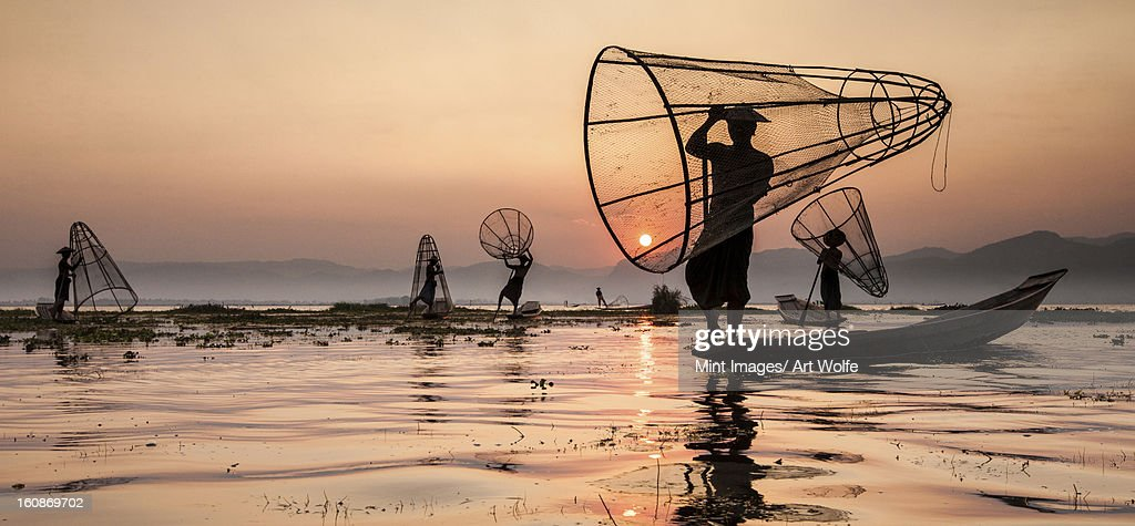 Fishermen on Inle Lake, Myanmar : Stock Photo