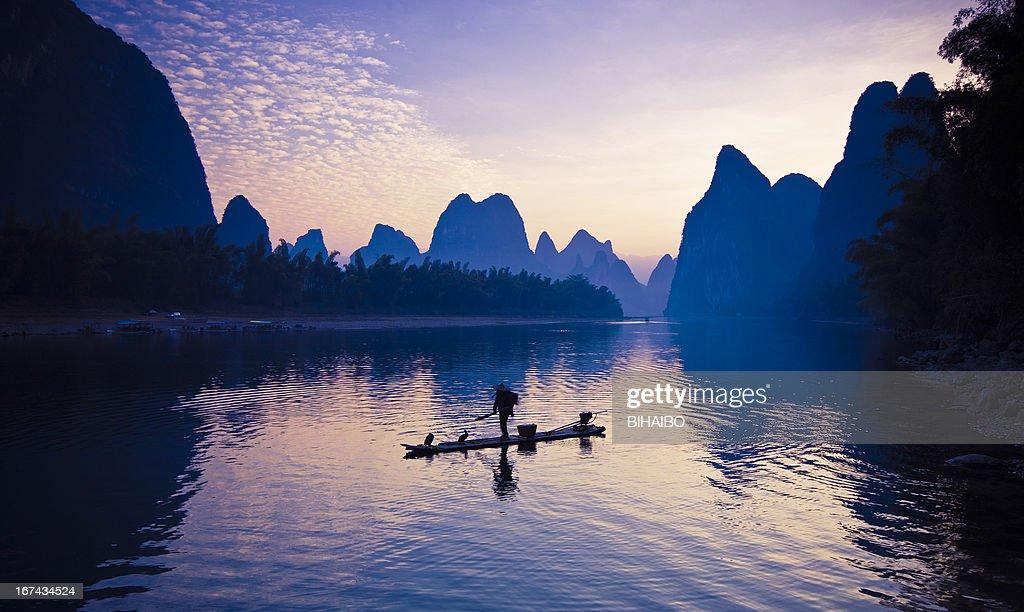 Los pescadores sobre río Li : Foto de stock