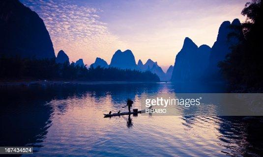 Pescadores no Rio Li : Foto de stock