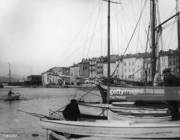 Fishermen on their boats in the harbour at St Tropez southern France circa 1945