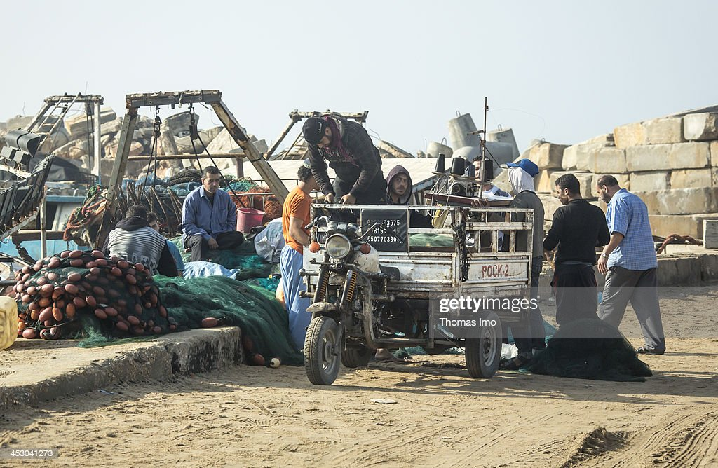 Fishermen pictured at the harbor on November 06, 2013 in Gaza City, The Palestinian Territories.