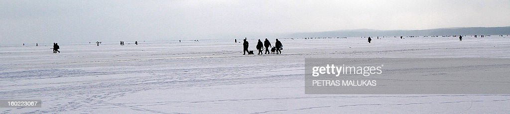 Fishermen walk over the frozen surface of the Kursiai Lagoon near Klaipeda, Lithuania, to catch smelts on January 27, 2013. Several thousands of amateur fishermen from all over Lithuania gather on the ice to catch the small fish. AFP PHOTO / PETRAS MALUKAS