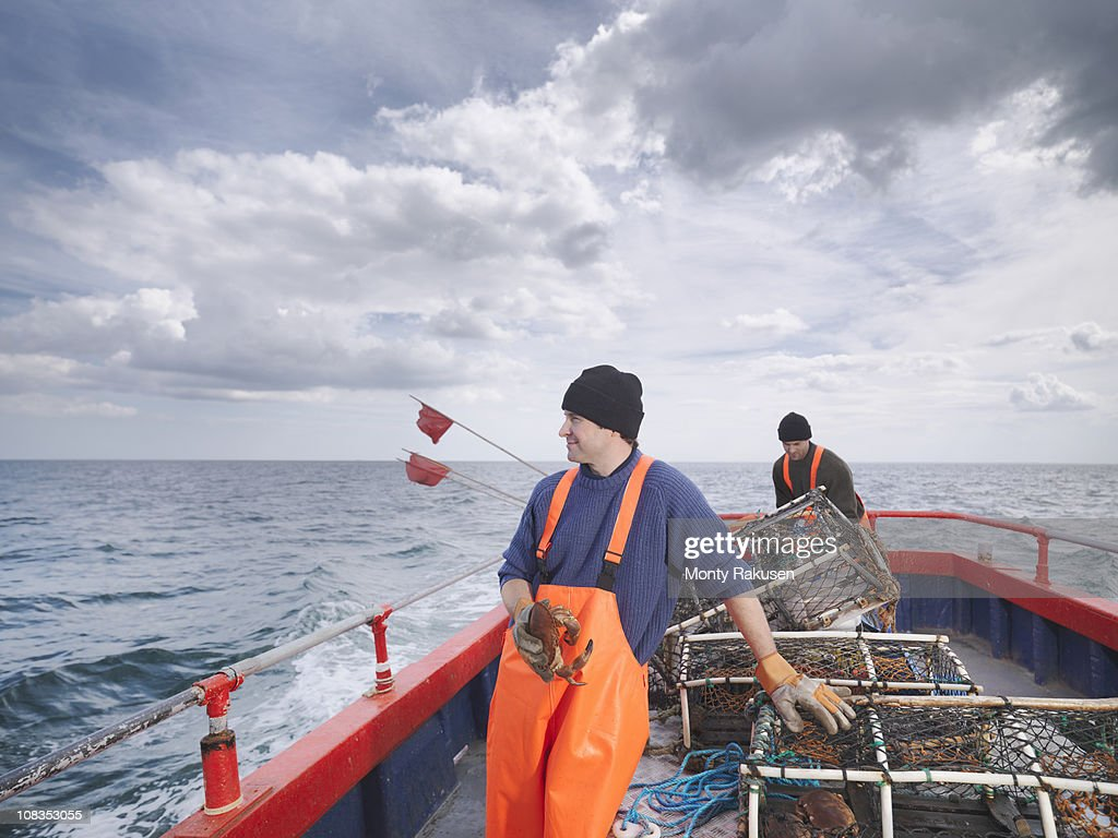 Fishermen with crab and lobster pots